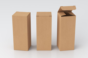 Blank cardboard tall and slim gift box with open and closed hinged flap lid on white background. Clipping path around box mock up. 3d illustration Fotomurales