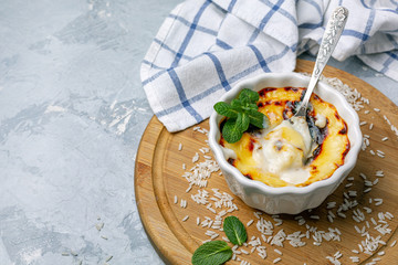 Turkish traditional dairy style rice pudding (sutlac).