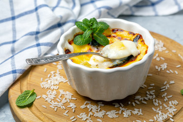 Baked rice pudding.Turkish dessert.