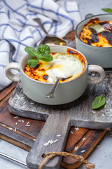 Rice, milk, and sugar pudding. Turkish cuisine.