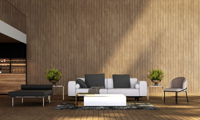 Modern living room interior design and wooden wall texture background