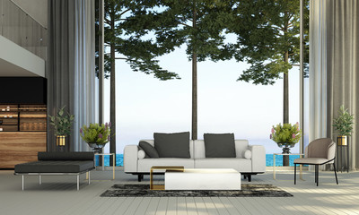 Modern luxury living room interior design and wall texture background and sea view