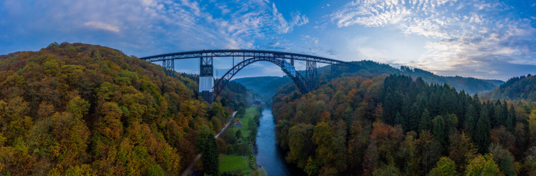 Müngsten Bridge  the highest railway bridge in Germany.Drone photography.