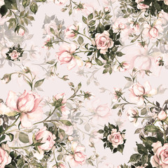 Watercolor seamless pattern bouquet of roses in bud