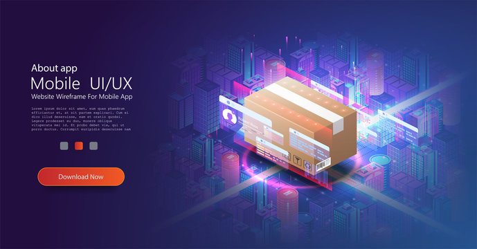 The concept of automatic logistics management. Cardboard box. Futuristic Warehouse equipment, parcel scanning, automatic dispatch. Logistics business. Delivery. Innovative smart city neon isometric