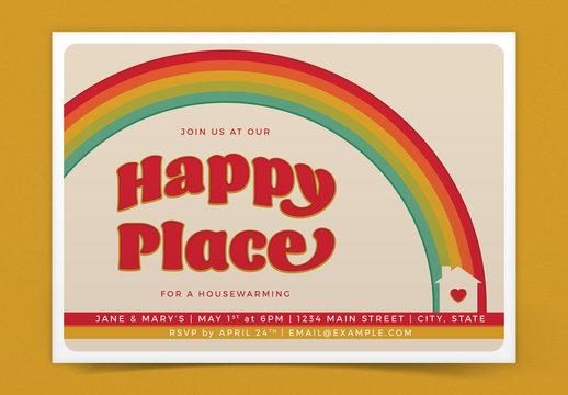 Retro Rainbow Housewarming Invitation Layout