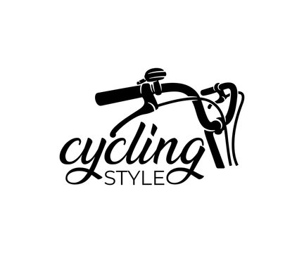 Bike and bicycle steering wheel, logo design. Bicycle, cycle or velocipede, vector design and illustration