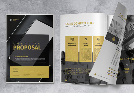 Proposal Business Brochure Layout with Gold Accents