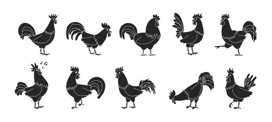 Cock of animal isolated black,simple set icon.Vector illustration set rooster cockerel.Vector black,simple icon cock of animal.