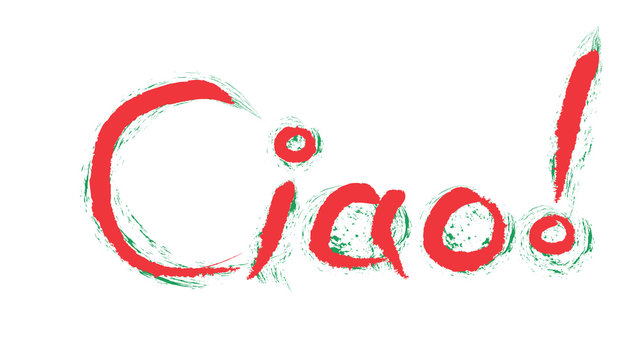 Ciao ! Means Hello in italian. Hand writing greeting with italian flag colors