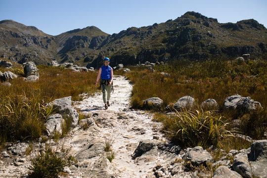 Caucasian woman enjoying time in the mountain
