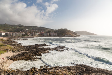 Coast of Galicia from the castle of Baiona, looking towards Concheira beach, Spain