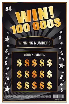 instant lottery ticket scratch off vector