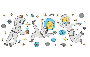 Astronaut in open space Man floating in universe