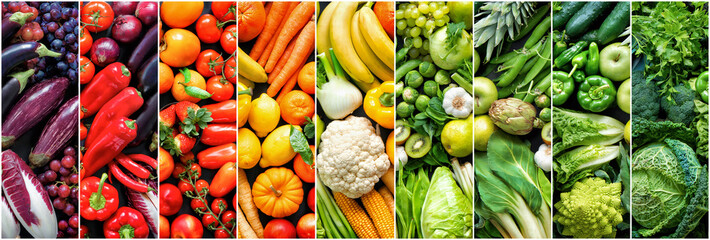 Assortment of fresh organic fruits and vegetables in rainbow colors Wall mural
