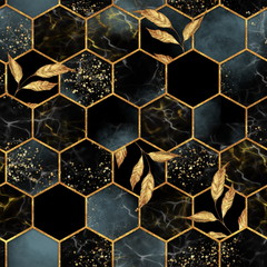 Papiers peints Artificiel Marble hexagon seamless texture with golden leaves. Abstract background