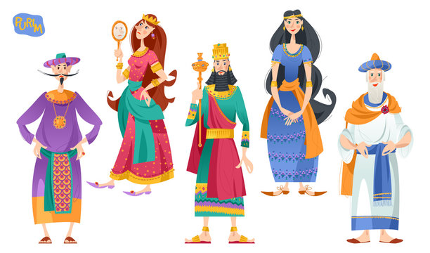 Purim. Jewish holiday. Book of Esther characters and heroes: Achashveirosh, Mordechai, Esther, Haman, Vashti.