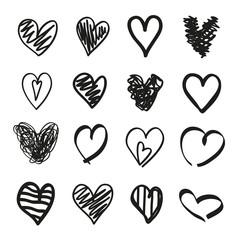 Black hearts on isolated white background. Black and white illustration