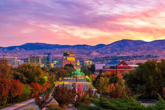 Boise Idaho skyline morning sunrise with light street traffic