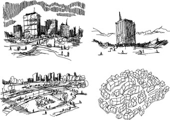 four hand drawn architectectural sketches of a modern city or town architecture and skylines