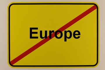 Illustration eines Stadteingangsschildes zum Thema Großbritannien - Brexit