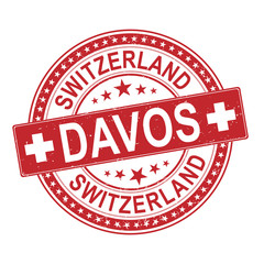 red davos city switzerland grungy rubber stamp