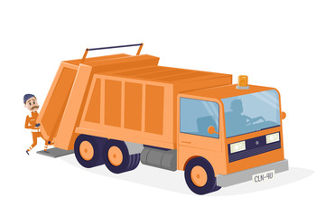 funny cartoon illustration of a garbage disposal car