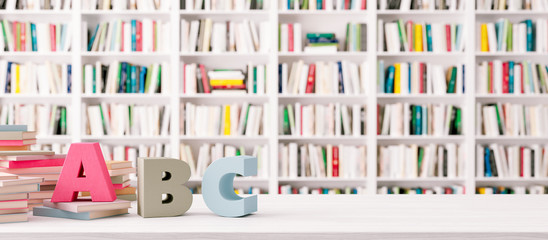 White Bookshelves in the library with ABC Letters on wooden table 3d render 3d illustration