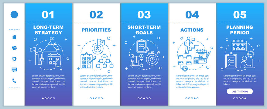 Strategy for business onboarding vector template. Priorities and actions. Planning period. Responsive mobile website with icons. Webpage walkthrough step screens. RGB color concept