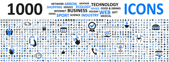 Big set icons: business, shopping, device, technology, medical, ecology, food & drink and many more for any cases of life using – vector