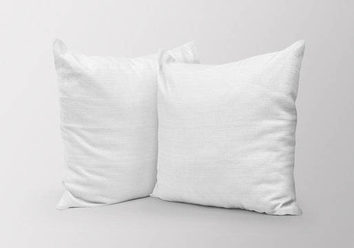 White blank two pillows mockup on isolated background
