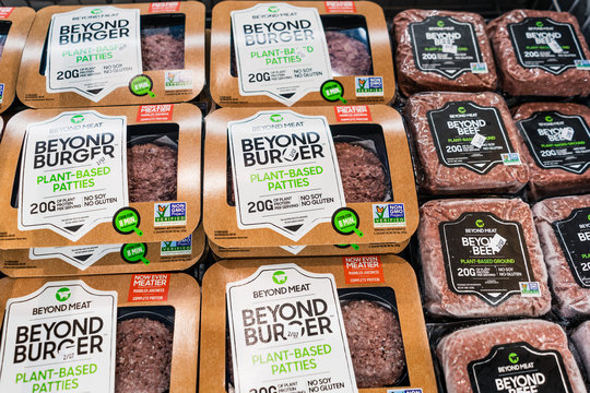Jan 27, 2020 Sunnyvale / CA / USA - Beyond Burger and Beyond Beef packages, all Beyond Meat products, available for purchase in a supermarket in San Francisco bay area