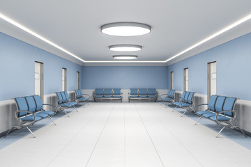 Contemporary waiting room in blue hospital interior