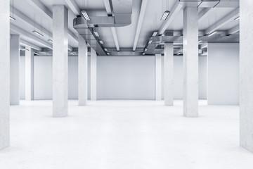 Minimalistic white interior with columns