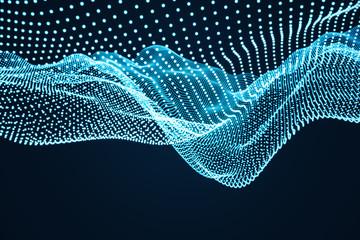 Fotobehang - Abstract blue digital glowing wave background.