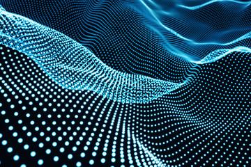 Fotobehang - Creative blue digital wave background.