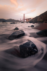 View from the Golden Gate Bridge at Marshall's Beach in San Francisco, California, United States.