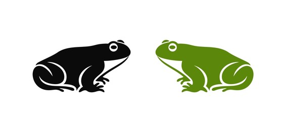 Frog logo. Abstract frog on white background. Bufo Common European Toad