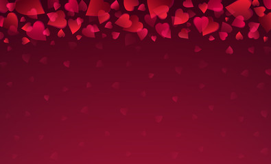Wall Mural - Valentines greetings background with red hearts. Valentines frame. Horizontal holiday background, headers, posters, cards, website. Vector illustration