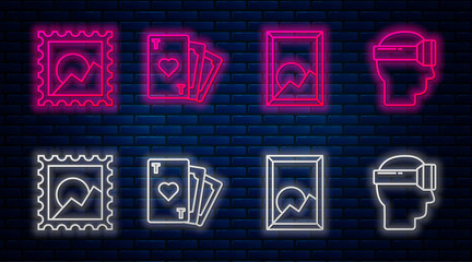 Set line Playing card with heart symbol, Picture landscape, Picture landscape and Virtual reality glasses. Glowing neon icon on brick wall. Vector