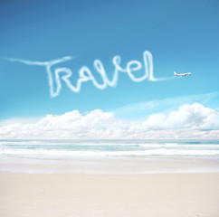 Wall Mural - Airplane in the sky drawing word travel.