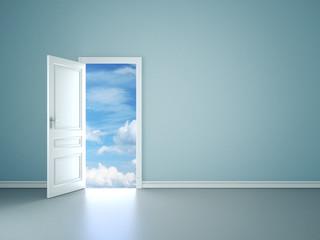 Room interior with open door to blue sky
