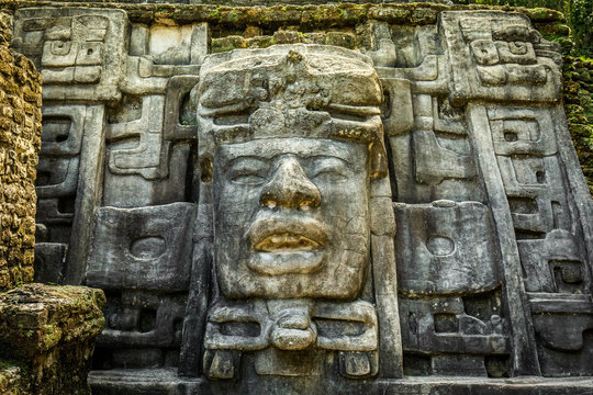 Lamanai archaeological reserve mayan Mask Temple in Belize
