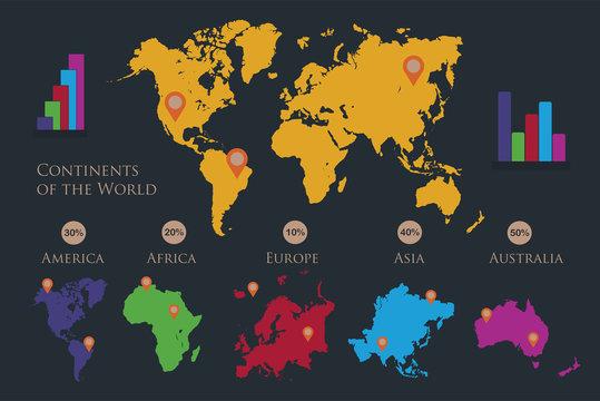Infographics World continents map, America, Europe, Africa, Asia, Australia, orange pointer, dark background vector