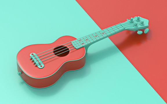 Green red soprano ukulele Side view 3D
