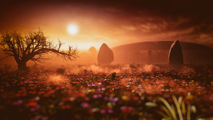 dreamy sunset fantasy historic structure landscape environment with soft focus