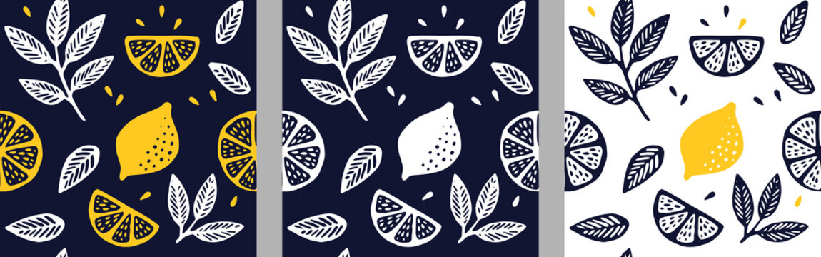 Tropical seamless pattern set with citrus