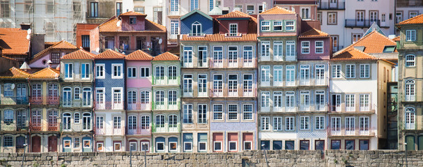 Panoramic View Of Porto Oporto Typical Old Houses