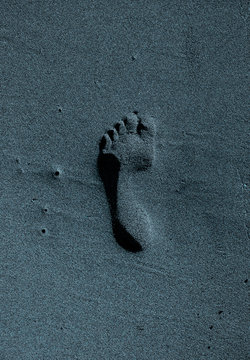A signle isolated footprint in the sand, centered and lit by the moonlight.