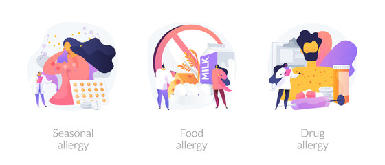 Allergy types abstract concept vector illustration set. Seasonal food and drug allergy symptoms remedy and treatment. Skin and blood testing, diagnosis complications and medication abstract metaphor.